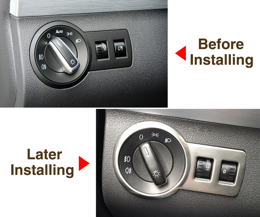 Image 5 - Car styling , stainless steel headlight switch cover stickers For Volkswagen VW Touran 2010 2015 Caddy Alltrack Car accessories-in Car Stickers from Automobiles & Motorcycles
