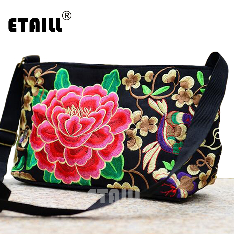 Vintage Canvas Floral Handmade Embroidered Crossbody Bags Women Messenger Bags Ethnic Embroidery Shoulder Bags Sac a Dos Femme national trend women handmade faced flower embroidered canvas embroidery ethnic bags handbag wml99