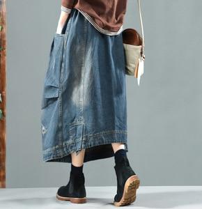 Image 5 - Autumn Winter Skirt Retro Women Loose Denim Skirt New Elastic Waist pocket Bleached Casual Female 2018 Denim Skirt