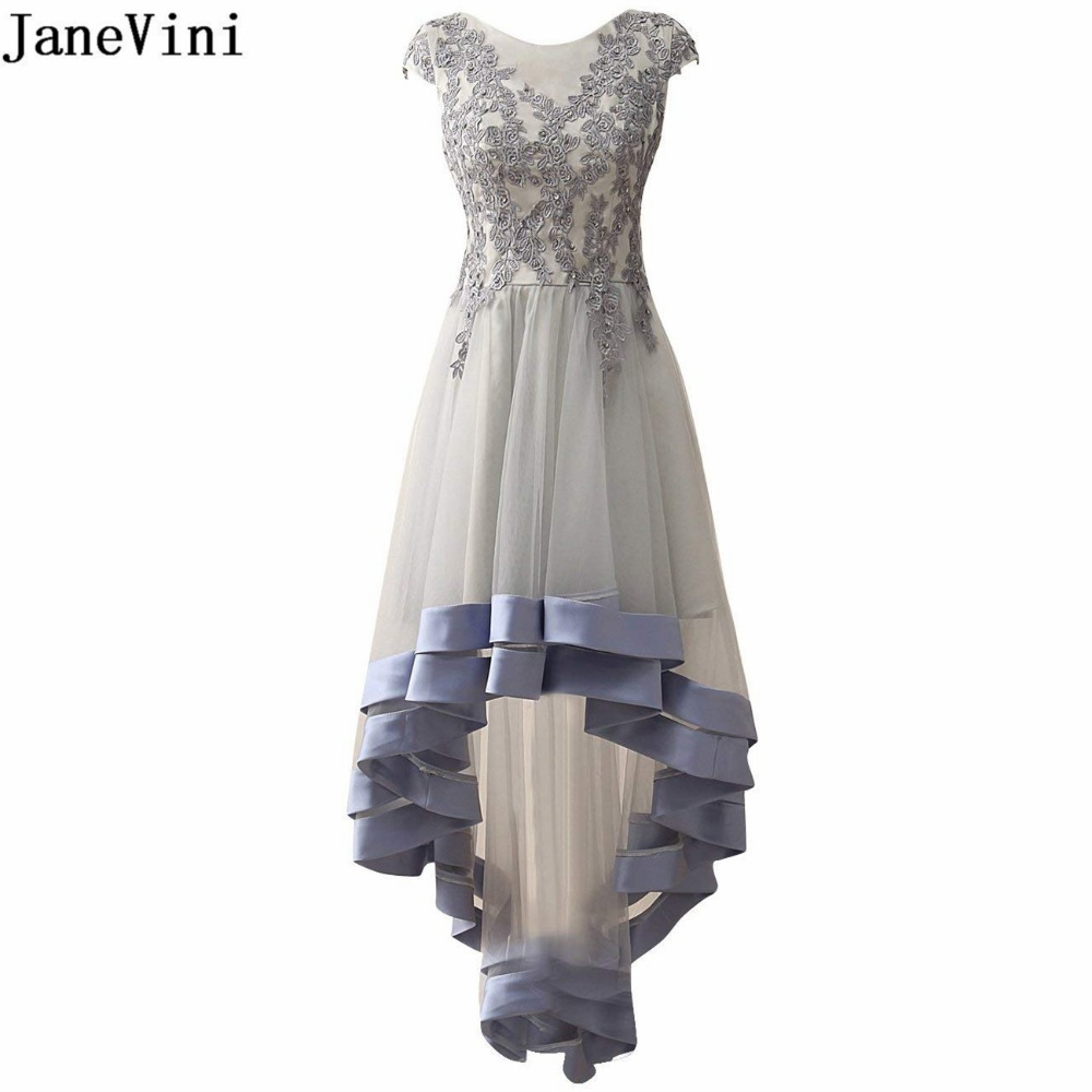 JaneVini Tulle High Low Grey   Bridesmaid     Dresses   with Lace Appliques Sequined Scoop Neck Zipper Back Floor Length Long Prom Gowns