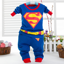 100% cotton Super Man Cartoon Children Cloth Kid Clothes 2PC baby boysouterwear +pants kid boys Clothing sets conjunto menina