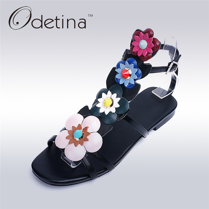 Odetina 2017 Luxury Genuine Leather Flower Sandals Buckle Women Open Toe Ankle Strap Sandals Flat Summer Shoes Ladies Elegant lucyever women vintage square toe flat summer sandals flock buckle casual shoes comfort ankle strap women footwear mujer zapatos