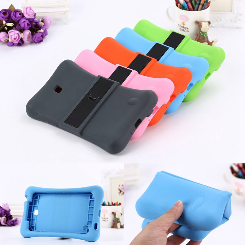 2016 Rubber Case for Samsung Galaxy Tab4 7.0 T230 full body protective silicone tablet Cover with kickstand silicon shell coque universal silicone case for screen 7 9 9 tablet pc all round protective cover kickstand flexible rubber silicon shell coque