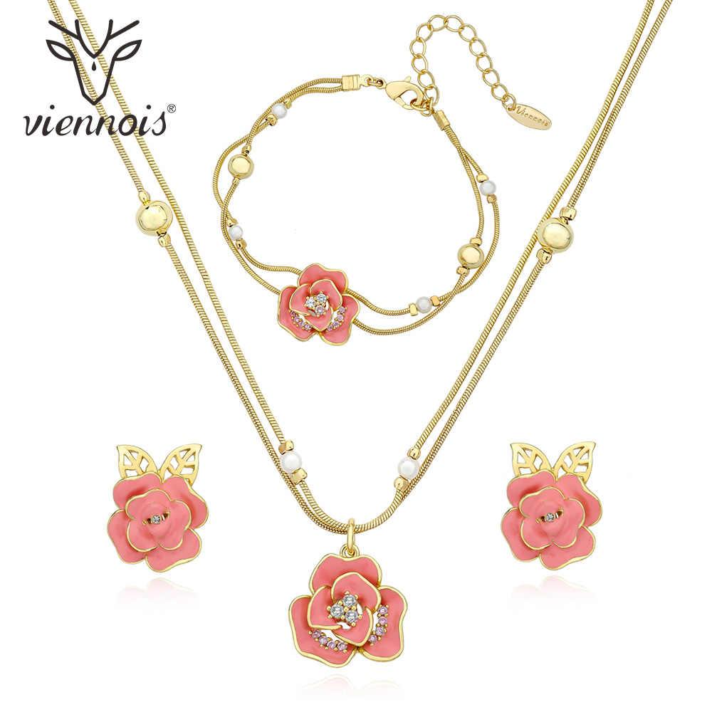 Viennois Rose ensemble de collier pour femmes couleur or Rose Chokers colliers strass cristal bracelet de mariage bijoux 2019