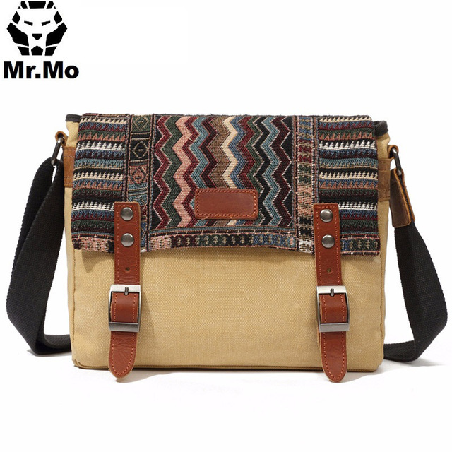 Vintage Ethnic Canvas Messenger Bag Women Chinese Style Shoulder Bag Female Casual Embroidery Crossbody Bag