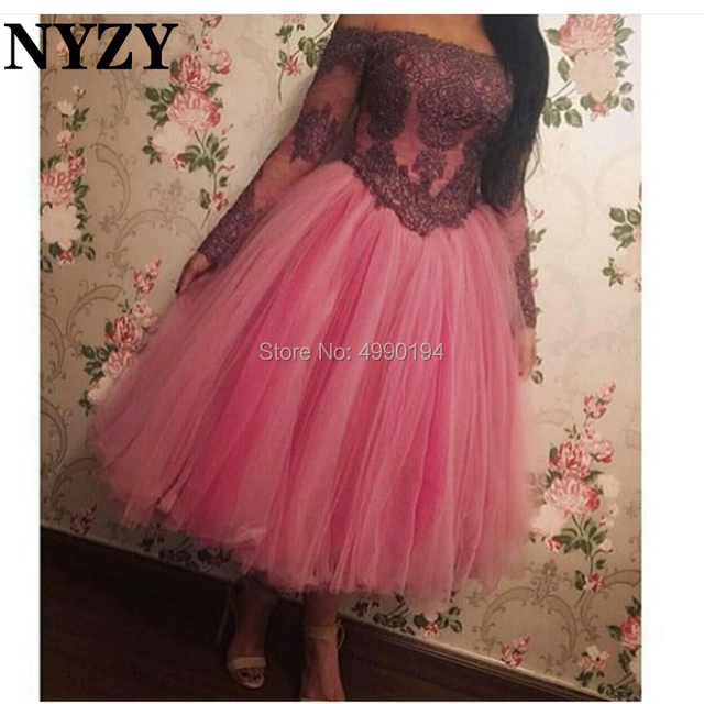 d3f0ec60024c9 NYZY E92 Coral Boat Neck Off Shoulder Ball Gown Princess vestido formal  robe soiree dubai Evening Dress 2019 Long Sleeve Arabic