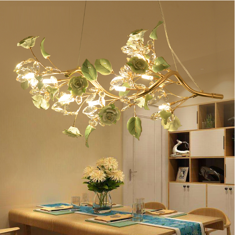 European Pendant Light crystal lamp ceramic living room lamps simple modern dining room bedroom Seminal Hotel Pendant Lights modern simple european style dining room lighting american hollow carved iron bedroom pendant lights