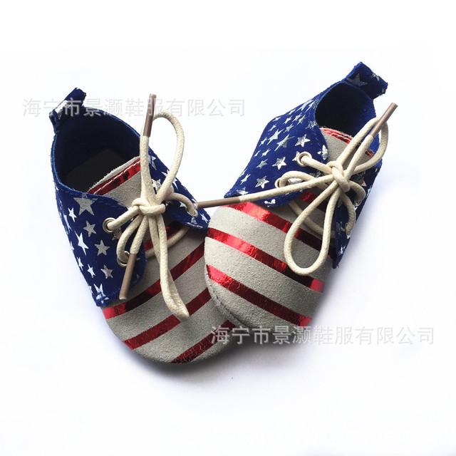 Nueva llegada de Bebé de Cuero Genuino Mocasines Zapatos perwalker estrellas rayas estilo Bebé chicas chicos Zapatos del niño suela blanda