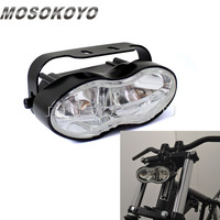 Motorcycle Double Oval Twin Headlight Cateye Retro H3 Wave Head Lamp for Custom Streetfighter Cafe Racer Bobbers Chopper