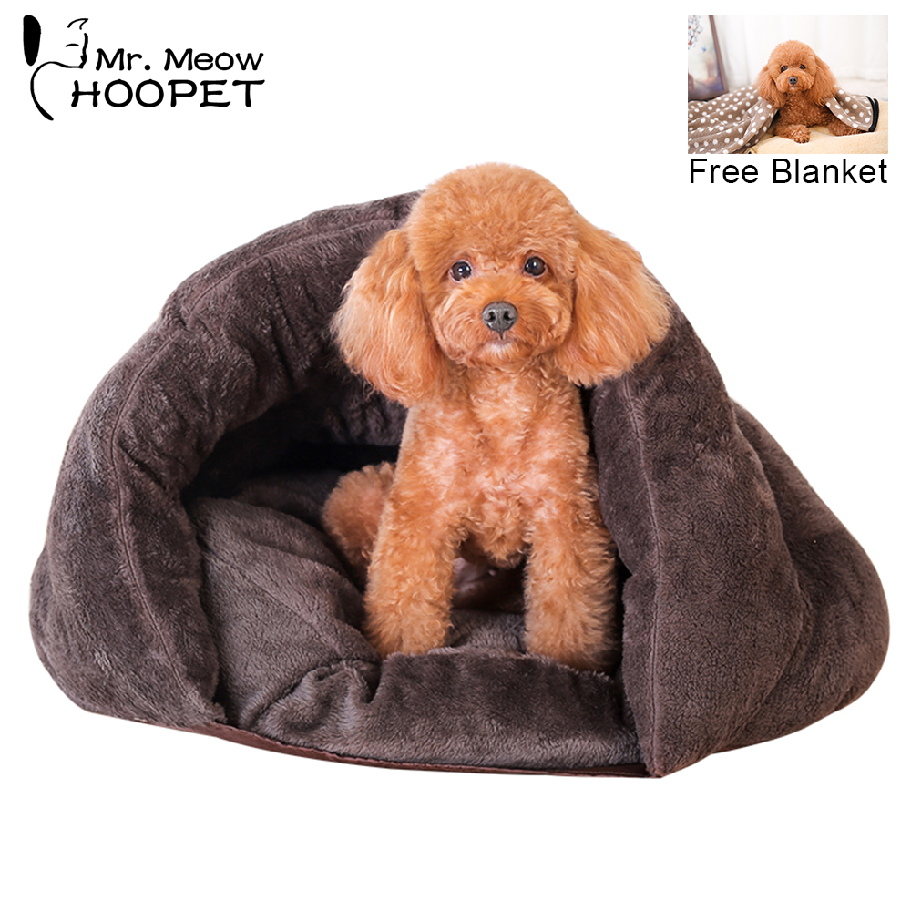 Hoopet Pet Dog Katt Bed Warm Soft Sleeping Bag Kattunge House Sack - Produkter för djur