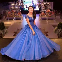 Royal Blue Cap Sleeves Ball Gown Evening Dresses Sheer Neck Lace Appliqued Long Prom Dresses Organza Pageant Quinceanera Dresse