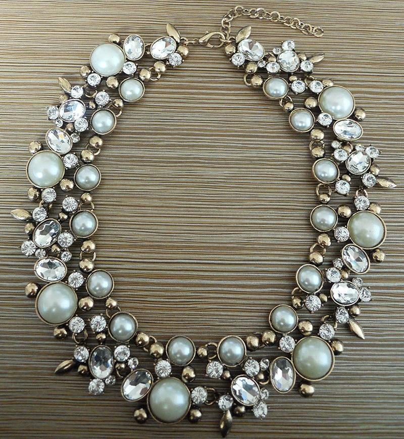 Mode Kristall Large Collar Choker Halskette Frauen Faux Pearl Big Bib - Modeschmuck - Foto 2