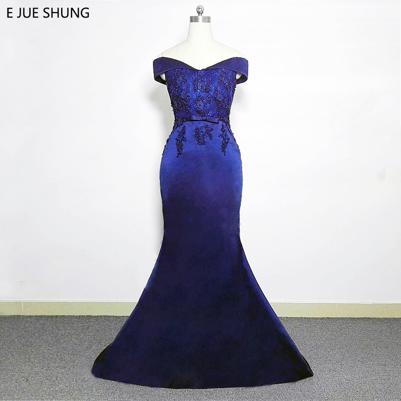 E JUE SHUNG Dark Navy Blue Lace Mermaid   Evening     Dresses   Long 2018 Off the Shoulder Sexy Prom   Dresses   Long Party   Dress   abiye