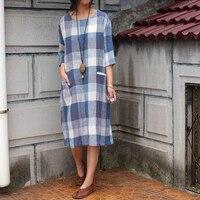 Летняя стильная новая стиральная хлопок белье окрашенная пряжа плед свободные платья большие размеры платье