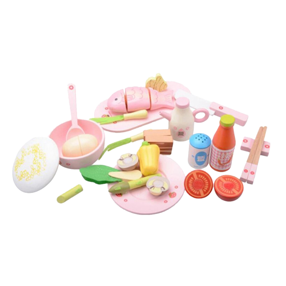 1 Set Educational Plaything Wooden Durable Simulation Pretend Play Toy Chinese Lunch Set For Children Girls Kids