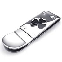 5x Money Clip Clover Stainless Steel For Men And Women Black Silver