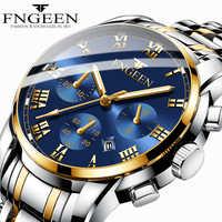 FNGEEN Relógio relogio masculino Relógios Mens Aço Inoxidável 2019 dos homens TOP Marca de relógios Esportes Relógio Masculino erkek kol saati