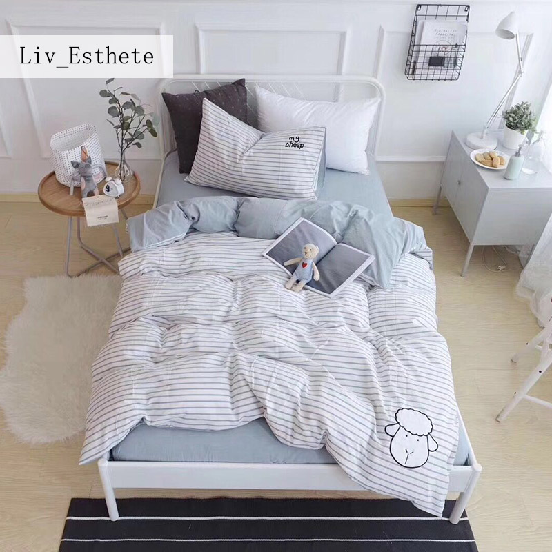 Liv_Esthete Cute Lamb Gray Stripes Cartoon Bedding Set Children Duvet Cover Set 100% Cotton Bed Set With Flat sheet 3pcs