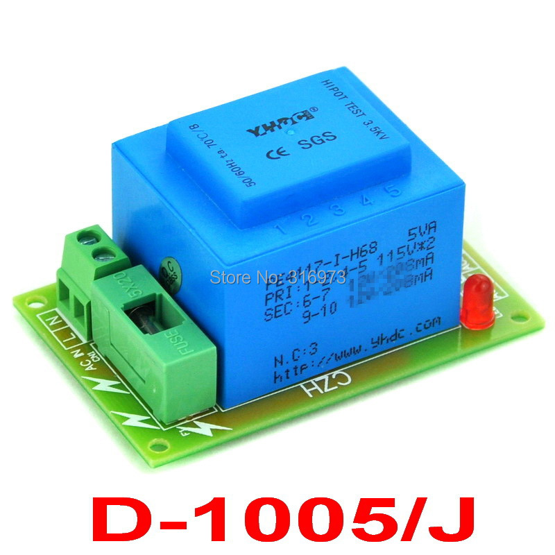 Primary 230VAC, Secondary 12VAC, 5VA Power Transformer Module, D-1005/J, AC12V