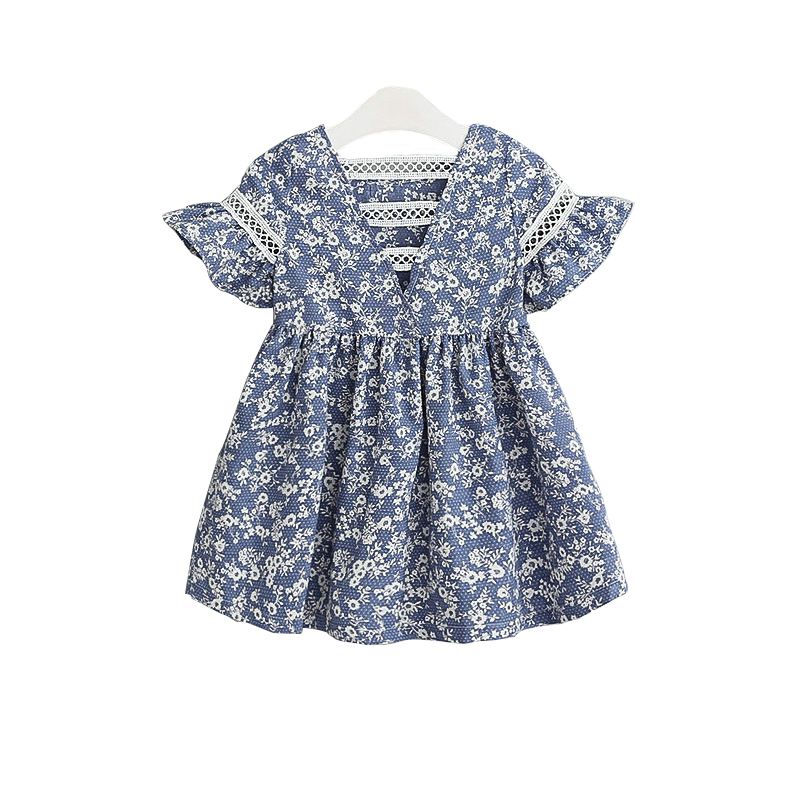 Girls Clothing Flower-Dress Floral Print Blue Fashion Casual