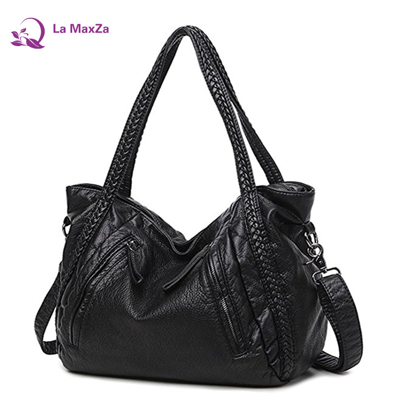La MaxZa Black Large Slouchy Soft Leather Women Handbag Braided Shoulder Tote Bag Lady Hobo Satchel New2018 la maxza gifts for valentine s day leather tote bag for women large commute handbag shoulder bag zipper women s work satchel bag
