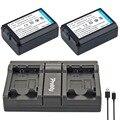 Probty 2 pcs np fw50 fw50 np bateria da câmera + usb carregador duplo para sony NEX 5 T 5R 5N 5C 5TL 5CK A7 A7R F3 3N 3CA55 A37 A5000