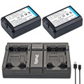Probty 2 unids np fw50 np fw50 batería de la cámara + usb cargador doble para sony NEX 5 T 5R 5N 5C 5TL 5CK A7R A7 F3 3N 3CA55 A37 A5000