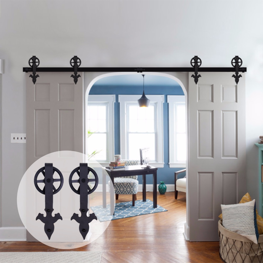 LWZH 14ft/15ft Sliding Door Barn Arrow Flower -Shaped With Big Rollers Sliding Closet Rail Track Hardware Kits For Double Door