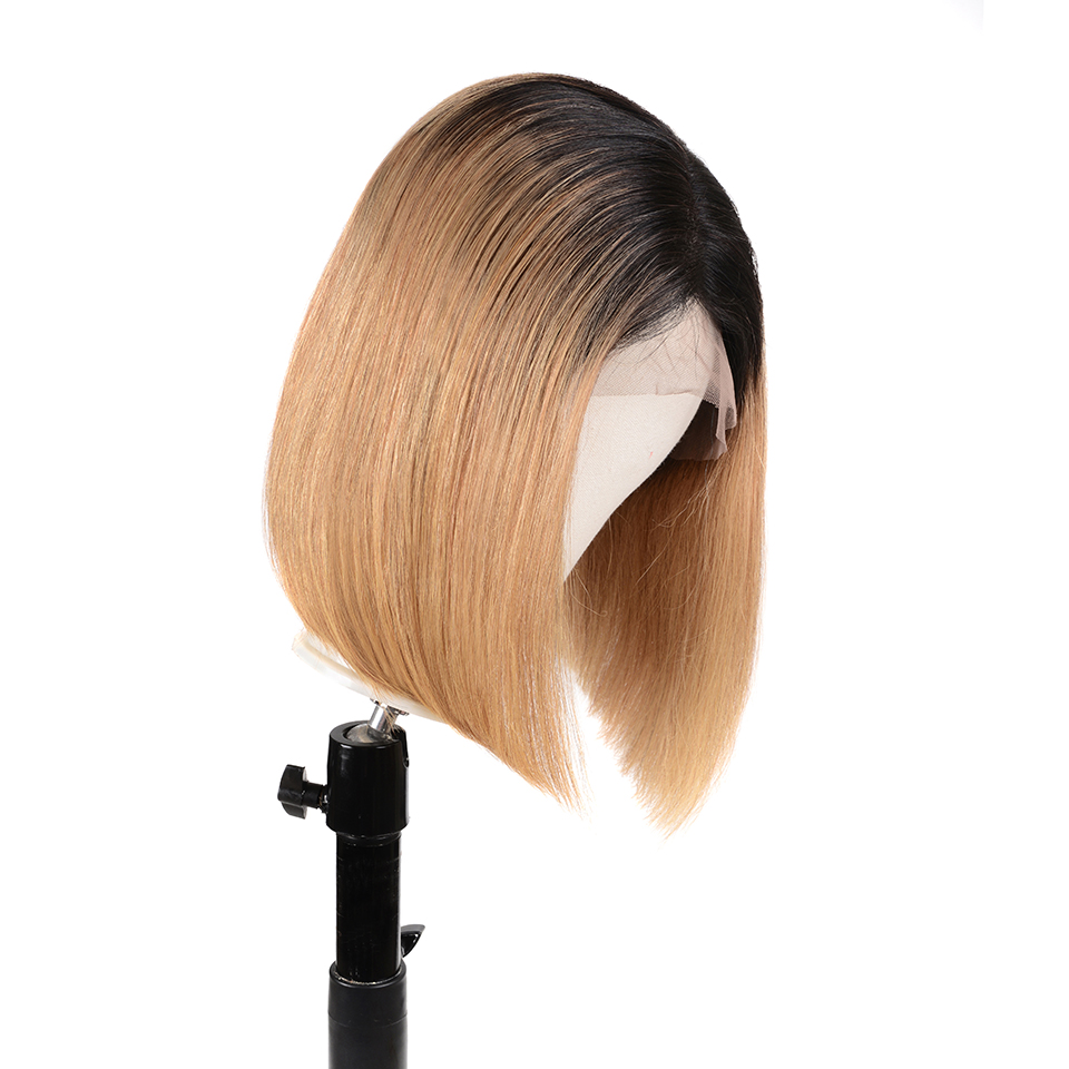 13x6 Ombre Lace Front Human Hair Wigs Remy Short Bob 1B/27 Honey Blonde Brazilian Straight Lace Front Wig For Black Women