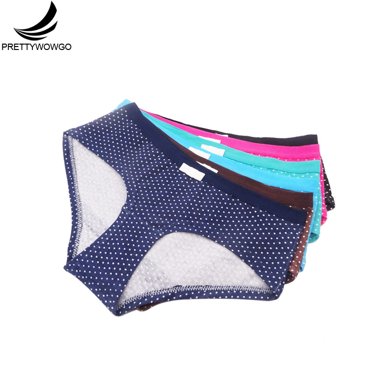 Prettywowgo 6 pcs lot New Arrival 2019 Fashion High Quality Comfortable Cotton Dot Print Women Panties 9306 in women 39 s panties from Underwear amp Sleepwears