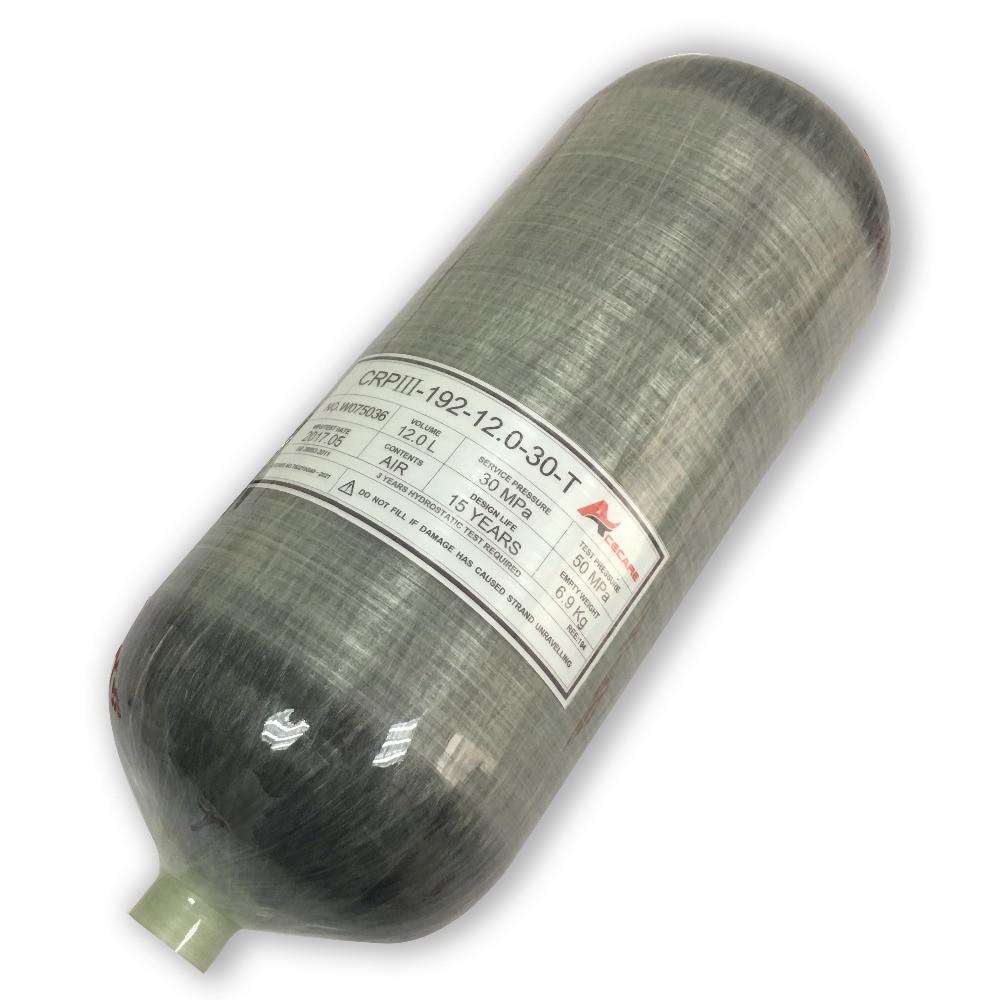 ACECARE 12L Carbon Tank/mini Scuba Tank Compressed Air 300bar/4500psi Paintball Air Tank Carbon Fiber Gas Cylinders AC3120