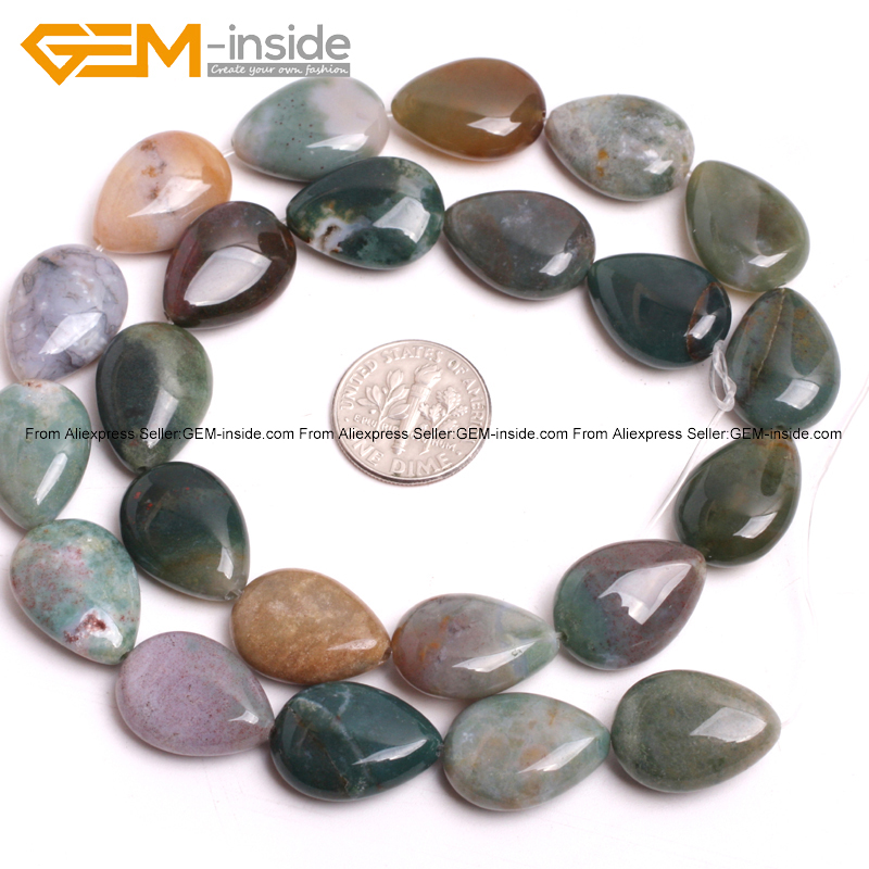 13x18mm Flat Teardrop Natural Stone Pendant Spacer Beads DIY Jewelry Findings