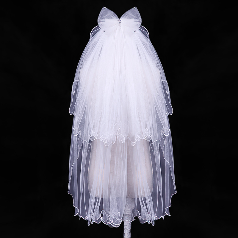Princess Two Layers 2020 Beaded Bow 28'' Length Flower Girl Veil With Comb Cheap First Communion Veil