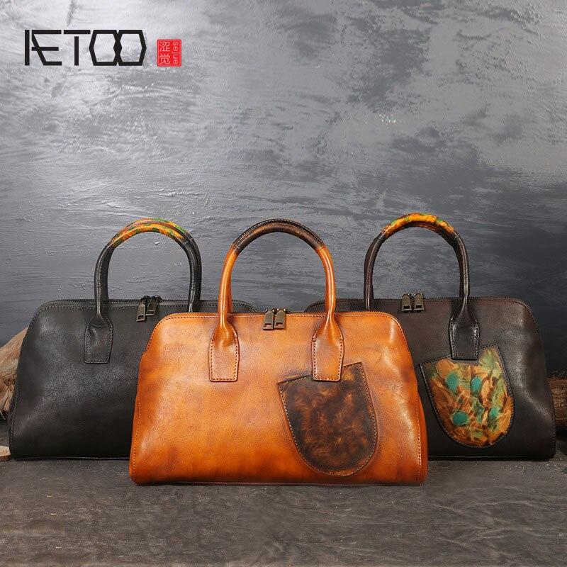 AETOO New retro leather handbags large first-class leather Messenger bag ladies handbag