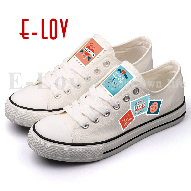 E-LOV Retro Style Postage Stamp Emblem Printing Canvas Shoes Lace-up Women Casual Leisure Shoe Espadrilles DIY Valentine Gifts brand quality the walking dead canvas shoes printed women casual flat shoes diy couples and lovers valentine gifts graffiti shoe