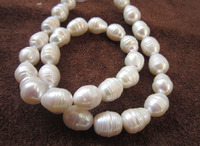 free shipping >classic 11 13mm AAA+ Akoya white baroque pearl necklace 18 inch clasp k