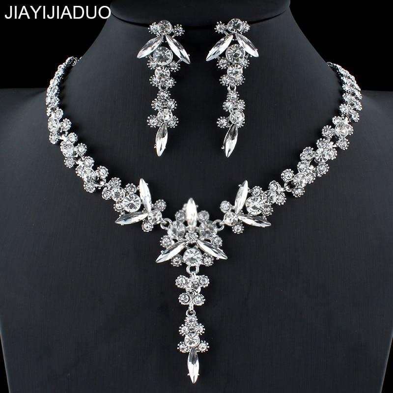 jiayijiaduo New Wedding Jewellery Set Charm Women Silver Color Necklace Long Earrings Set Crystal Jewelry dropshipping