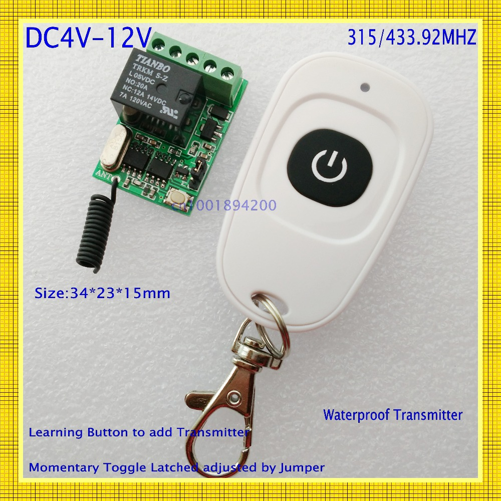 DC4V 4.5V 5V 6V 7.4V 9V 12V Small Size Relay Remote Switch Computer ON OFF Button Wireless Switch Door Openner Button RF RX TX small relays wireless rc switch button signal line on off dc3 7 5v 12v controller remote control module