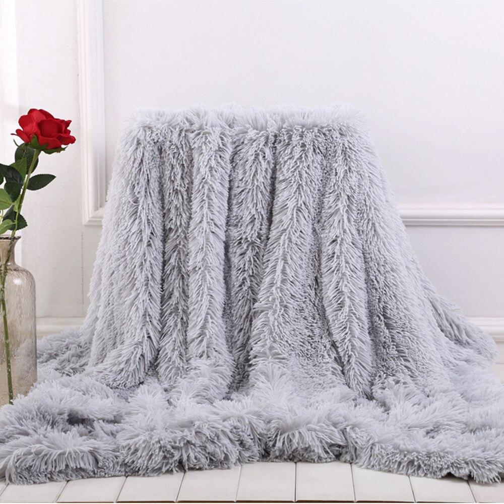 Fur Throw Blanket no Sofá macio Longo Desgrenhado Difusa Da Pele Do Falso Inverno Cobertores para Cama Sofá Aconchegante e confortável Com sherpa fofo