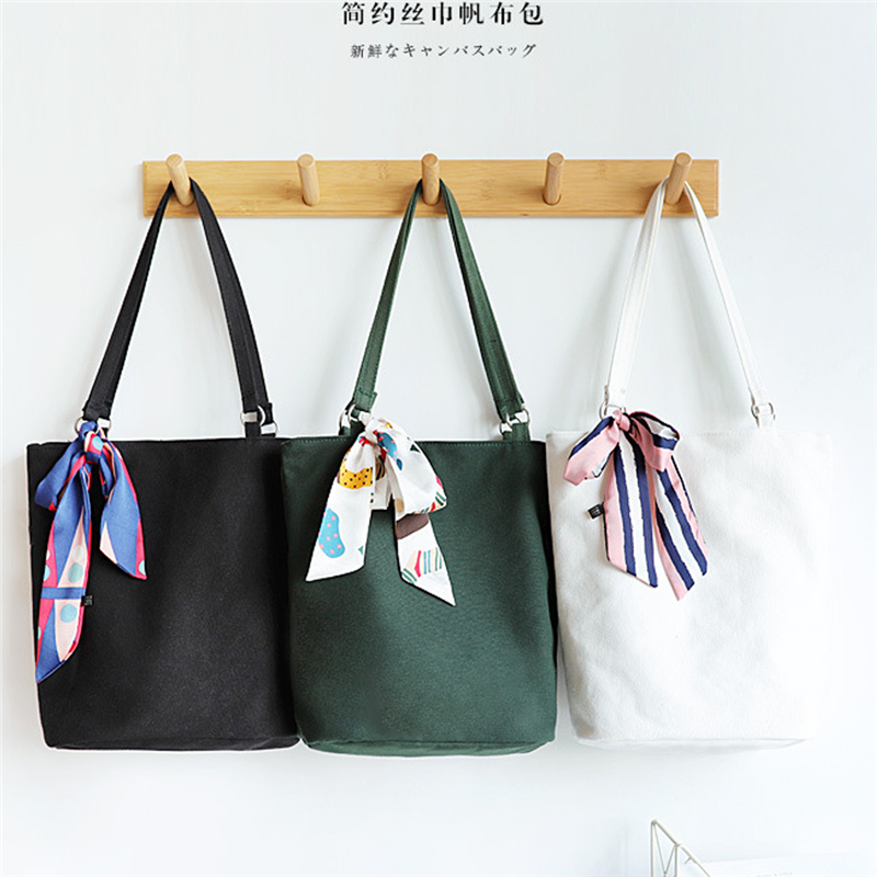 Spring And Autumn Original Fashion Korea Simple Canvas Bag Bucket Bag Ladies Handbag Girls Shoulder Bucket Bag
