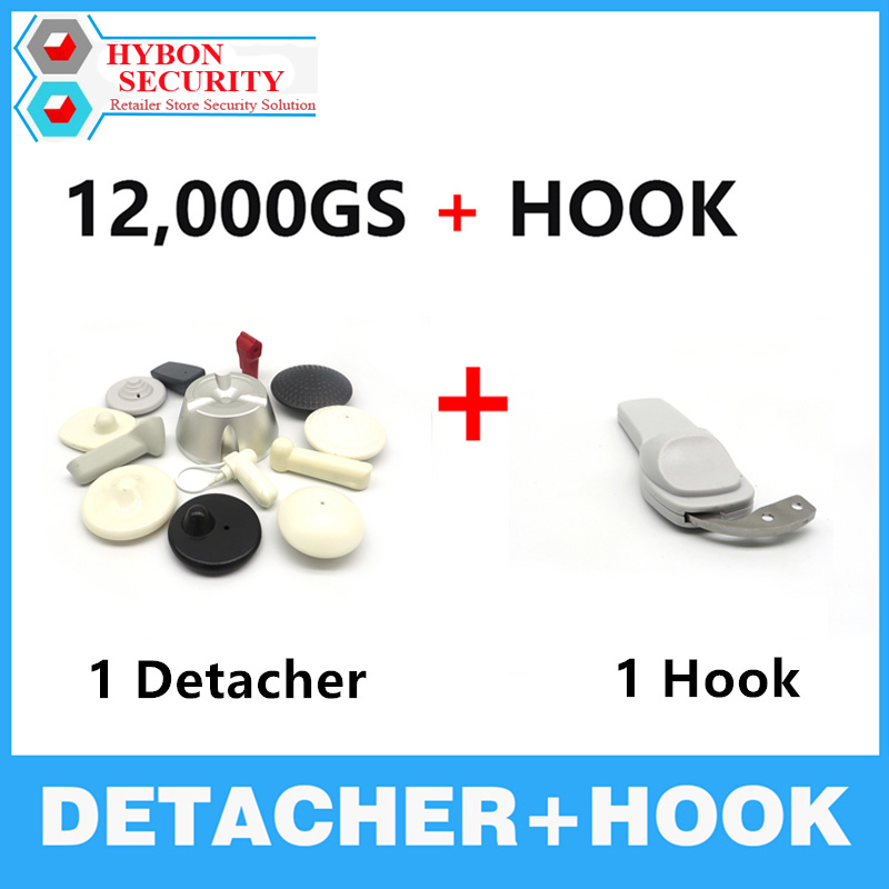 HYBON 1Pcs 12000gs Golf Detacher Security Tag Remover+1pcs Detacher Hook Portable Mini Key Handheld Security Protection