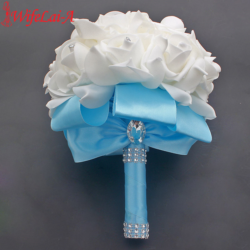 Cheap Prom Baby Blue Flower Brooch Wedding Bouquet De Mariage Wedding Bouquets PE Rose Diamond Ribbon Bouquet W2017D 6