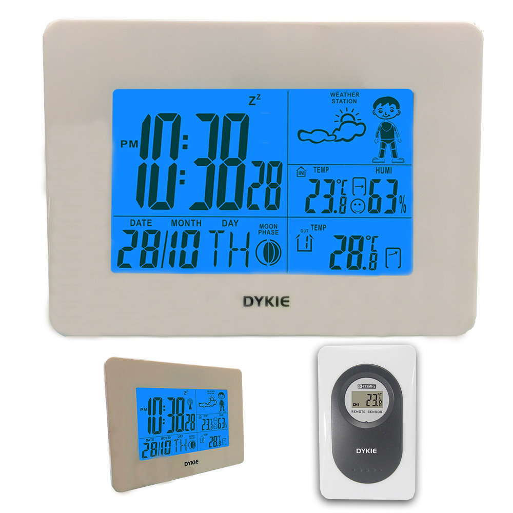 цена DYKIE White Wireless Weather Station with Digital Alarm Clock Indoor Outdoor Temperature Humidity Remote Sensor for Home Office
