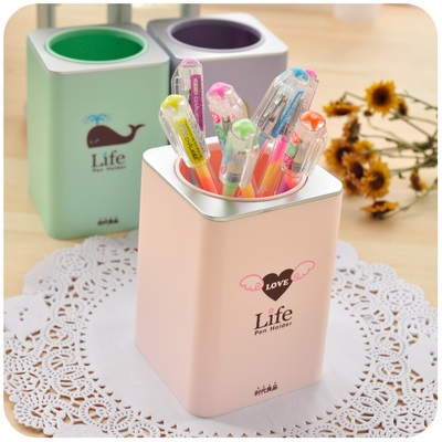 Gentil Korean Creative Cute Pen Holder Kawaii Desk Organizer Plastic Pencil Holder  Pen Stand For Pens And