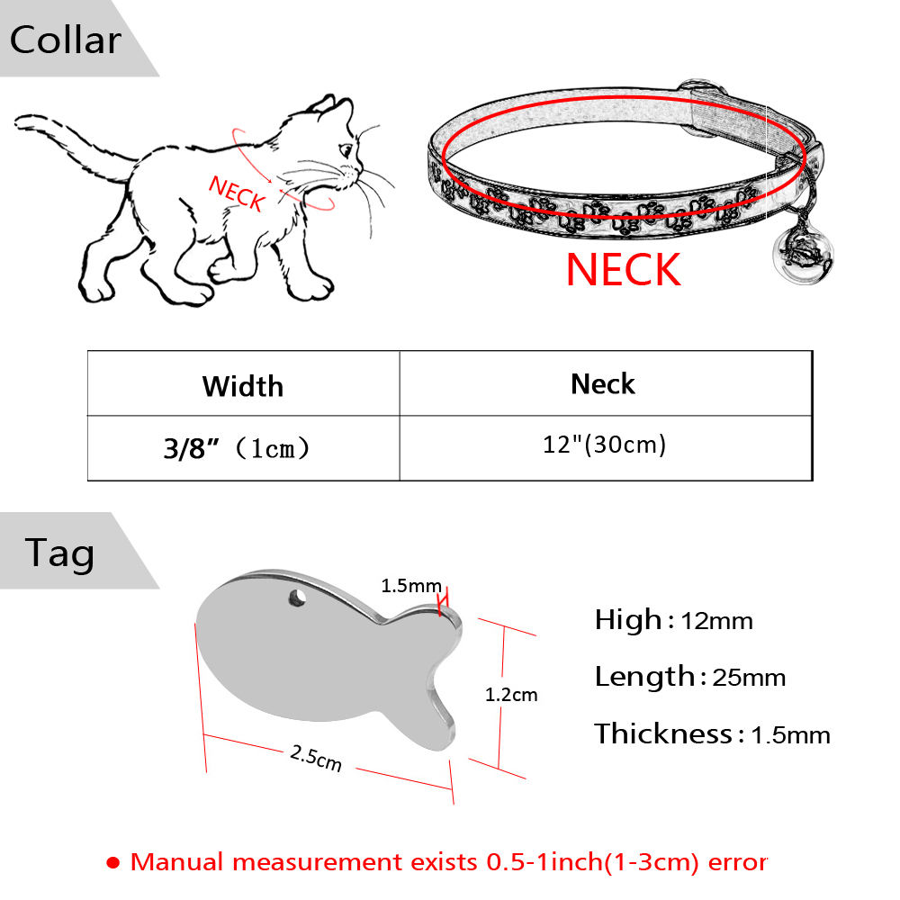 safety florescence personalized cat collars with tags cats kitten collar with engraved fish id tag name necklace with bell in cat collars leads from home  [ 1000 x 1000 Pixel ]
