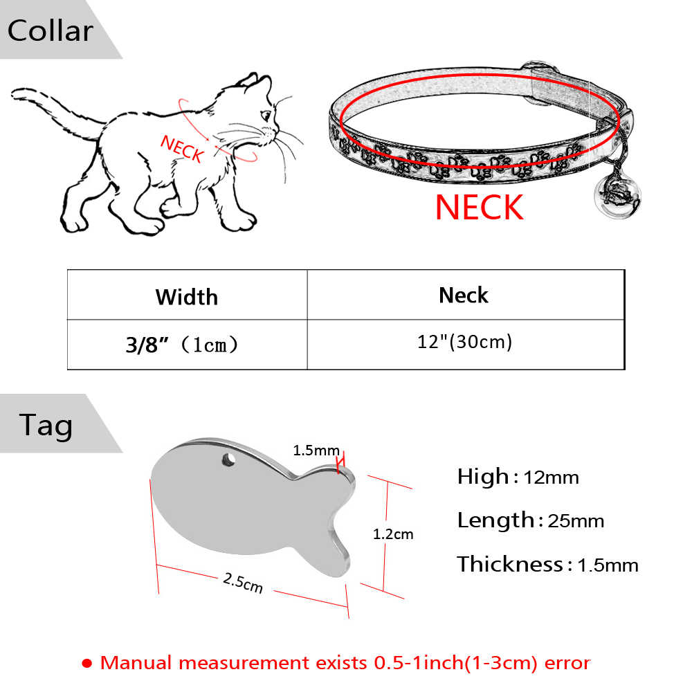 safety florescence personalized cat collars with tags cats kitten collar with engraved fish id tag name  [ 1000 x 1000 Pixel ]
