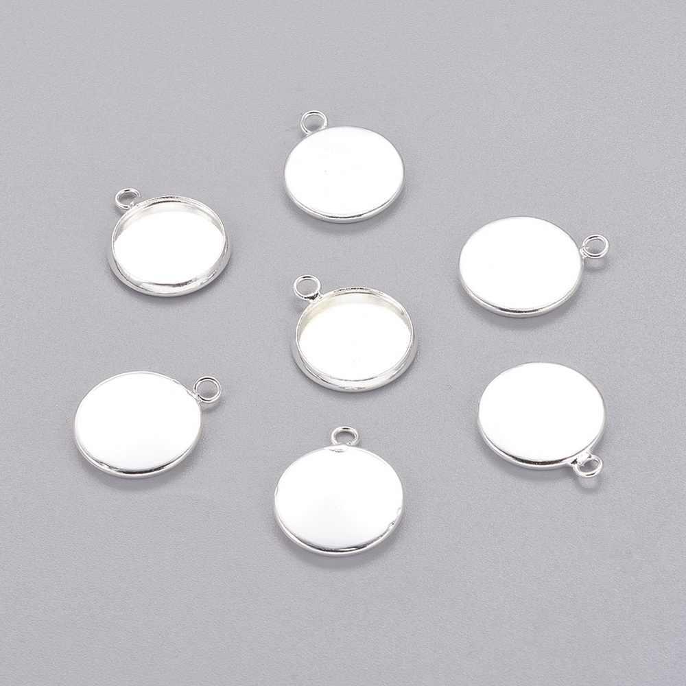 700 piezas de latón redondo plano en blanco colgante bandejas cabujón, sin plomo y sin cadmio, plata, bandeja: 12mm; 17x14x2mm agujero: 1,5mm