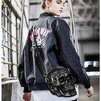 Ladies Solid Black Crossbody Bag Crossbones 2019 Luxury Handbags Women Bags Designer Zipper 3D Skull Shoulder Bag J391 DropShip