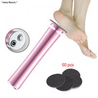 Newest Rechargeable Electronic Pedicure Foot file Callus Remover Machine with 60pcs Replacement Pads Removes Dry Dead Hard skin
