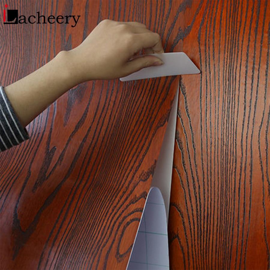 PVC Waterproof Living Room Wall Decor Self Adhesive Vinyl Wood Wallpaper for Doors Cabinet Desktop Furniture Renovation Stickers in Wallpapers from Home Improvement